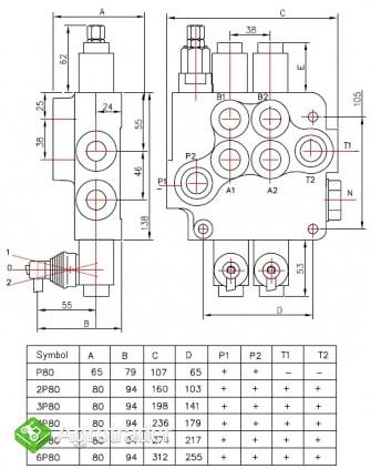 Rozdzielacz hydrauliczny 2 sekcyjny 80L - zdjęcie 1