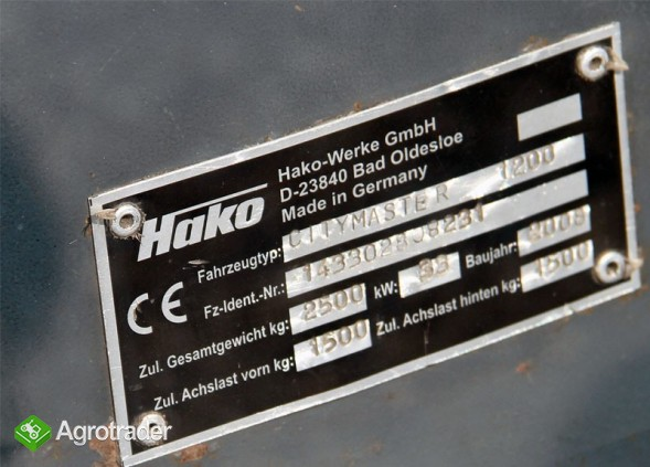 Zamiatarka drogowa uliczna przegubowa Hako Citymaster 1200 rok 2008 - zdjęcie 5