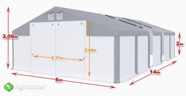 CAŁOROCZNA HALA NAMIOTOWA 6m × 14m × 2m/3,09m
